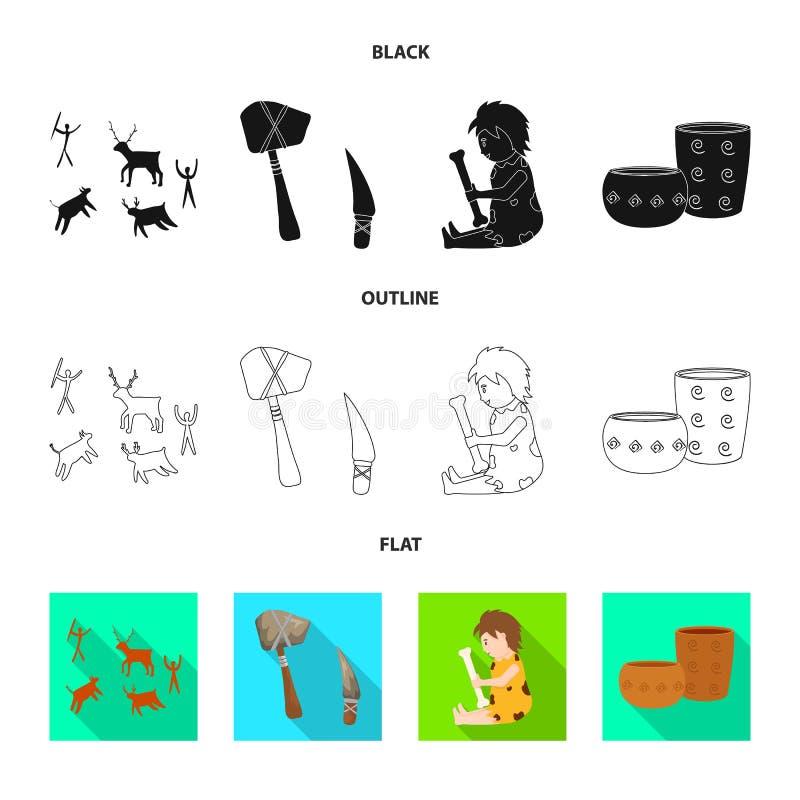 Odosobniony przedmiot ewolucja i neolityczny symbol Kolekcja ewolucja i pradawna akcyjna wektorowa ilustracja ilustracja wektor