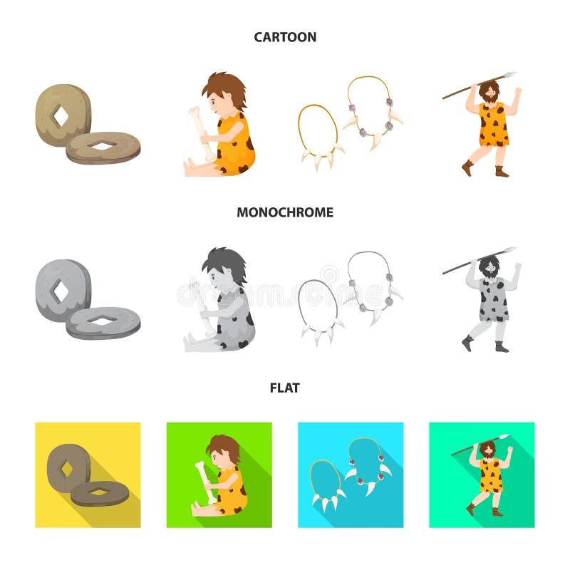 Odosobniony przedmiot ewolucja i neolityczny symbol Kolekcja ewolucja i pradawna wektorowa ikona dla zapasu royalty ilustracja