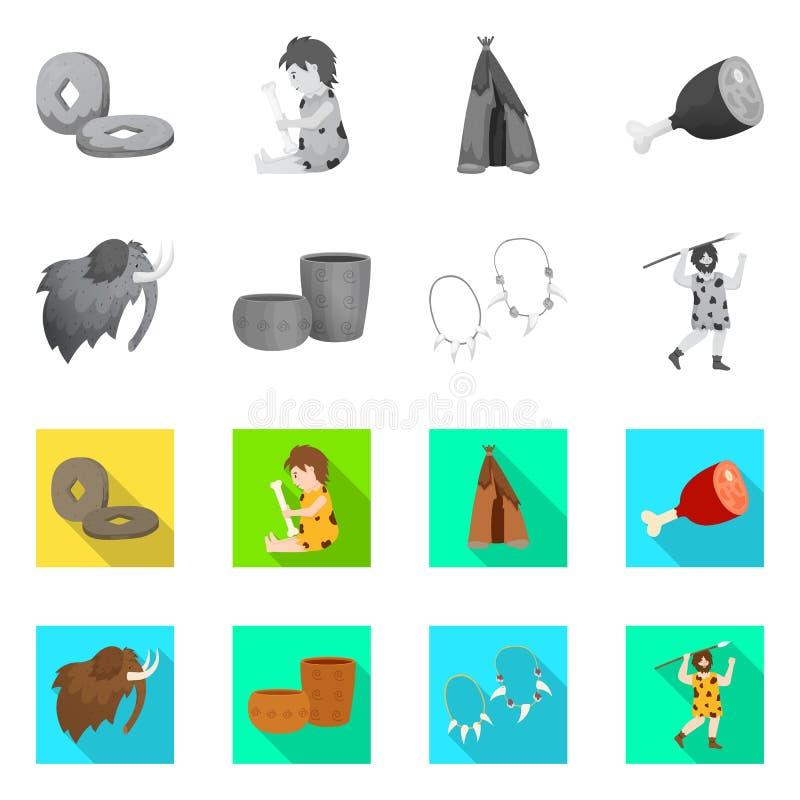 Odosobniony przedmiot ewolucja i neolityczny symbol Kolekcja ewolucja i pradawna wektorowa ikona dla zapasu ilustracji