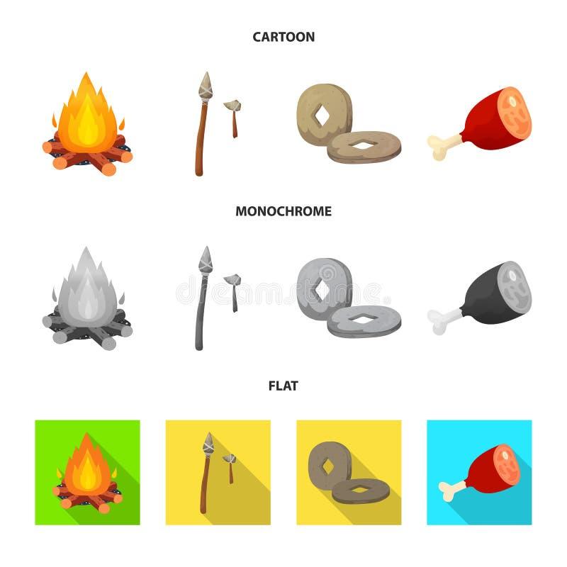Odosobniony przedmiot ewolucja i neolityczny symbol Set ewolucja i pradawna wektorowa ikona dla zapasu ilustracja wektor