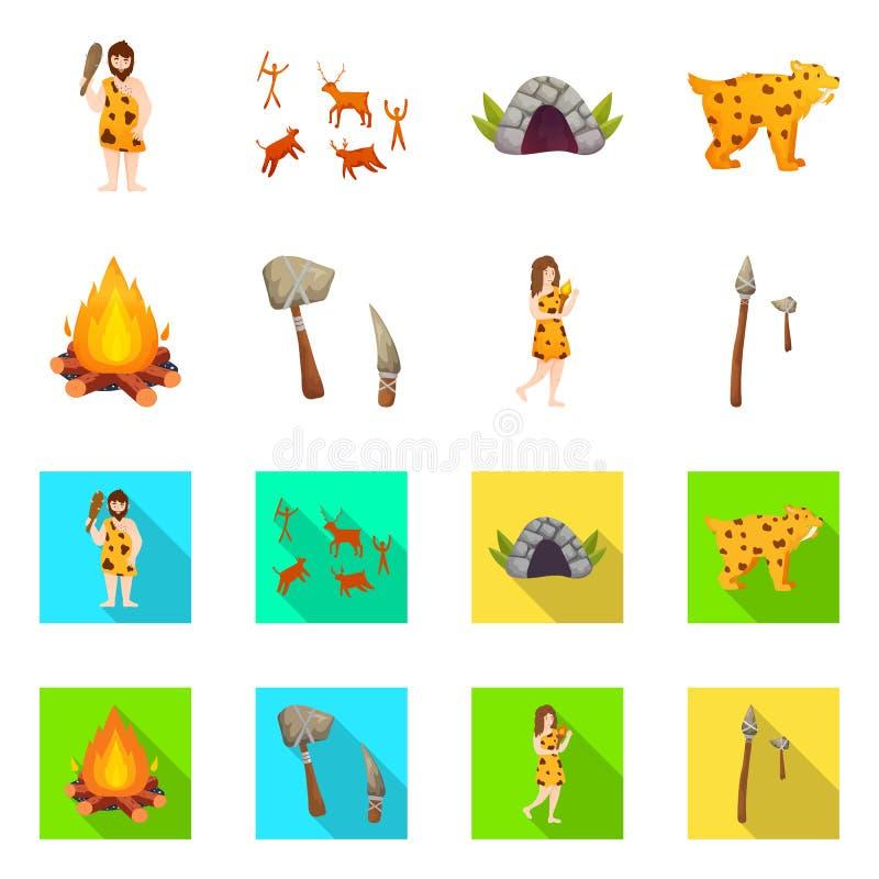 Odosobniony przedmiot ewolucja i neolityczny symbol Set ewolucja i pradawna wektorowa ikona dla zapasu ilustracji