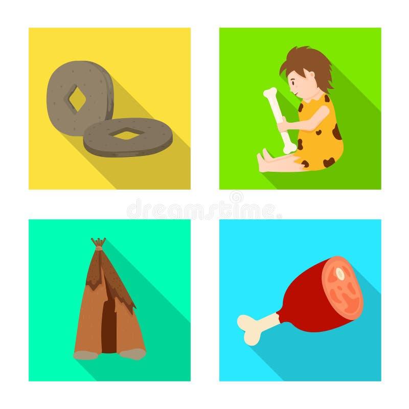 Odosobniony przedmiot ewolucja i neolityczny symbol Set ewolucja i pradawny akcyjny symbol dla sieci royalty ilustracja