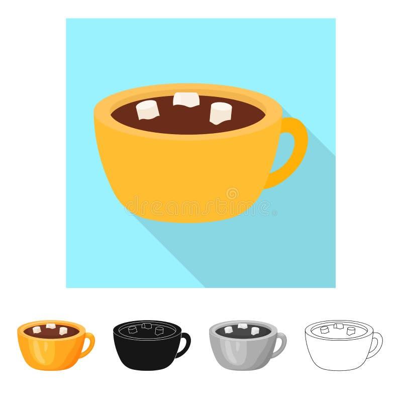 Odosobniony przedmiot gorący i czekoladowy znak Set gorąca i ciemna wektorowa ikona dla zapasu ilustracji