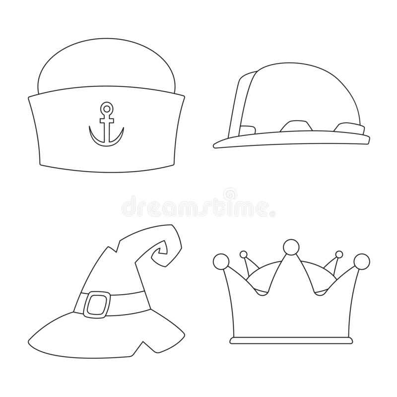 Odosobniony przedmiot headwear i nakrętki znak Kolekcja headwear i akcesorium akcyjna wektorowa ilustracja ilustracji