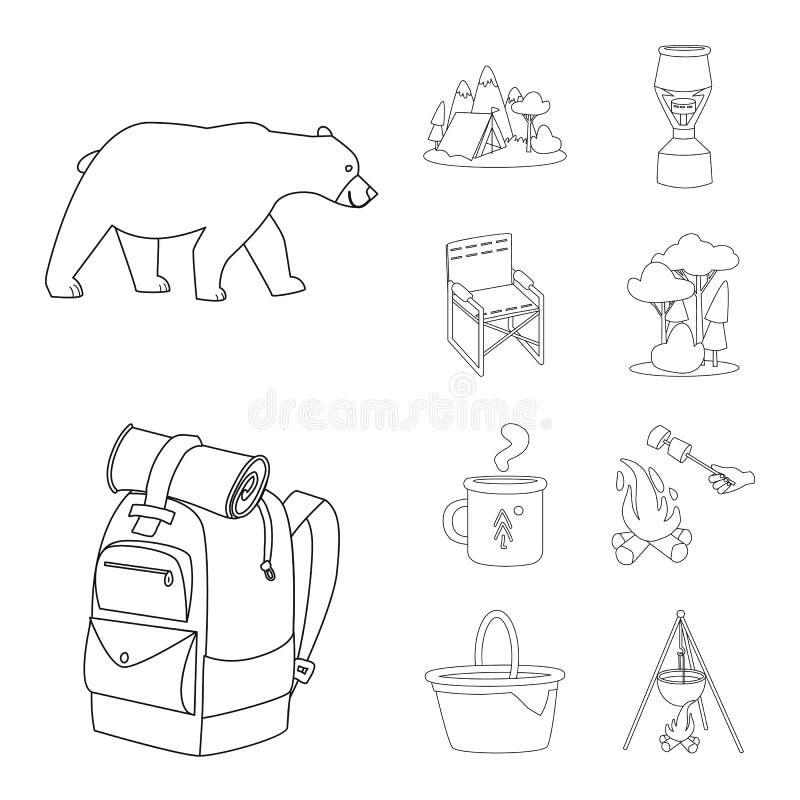 Odosobniony przedmiot hobby i podróży logo Set hobby i turystyki akcyjna wektorowa ilustracja ilustracja wektor