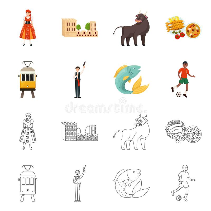 Odosobniony przedmiot i historyczny logo Kolekcja i kraj wektorowa ikona dla zapasu ilustracji