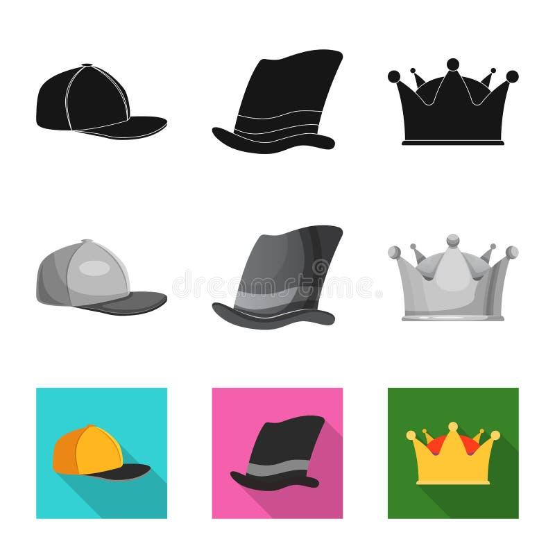 Odosobniony przedmiot kłobuku i nakrętki ikona Kolekcja kłobuku i akcesorium akcyjna wektorowa ilustracja ilustracja wektor
