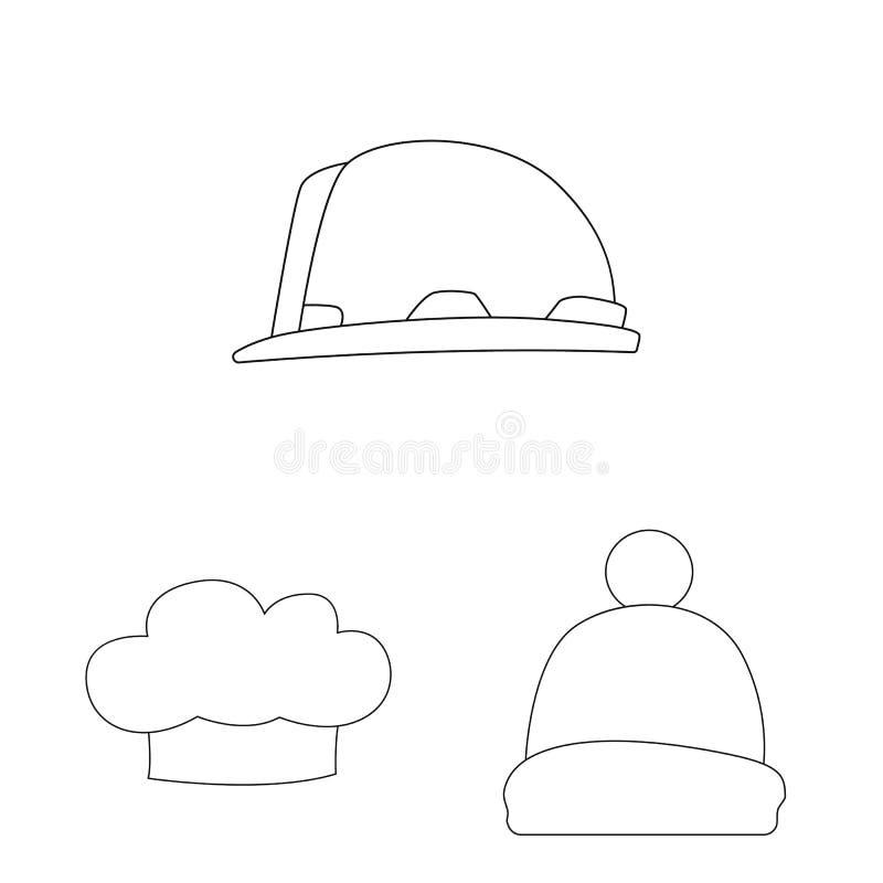 Odosobniony przedmiot kłobuku i nakrętki ikona Set kłobuku i akcesorium akcyjna wektorowa ilustracja ilustracji