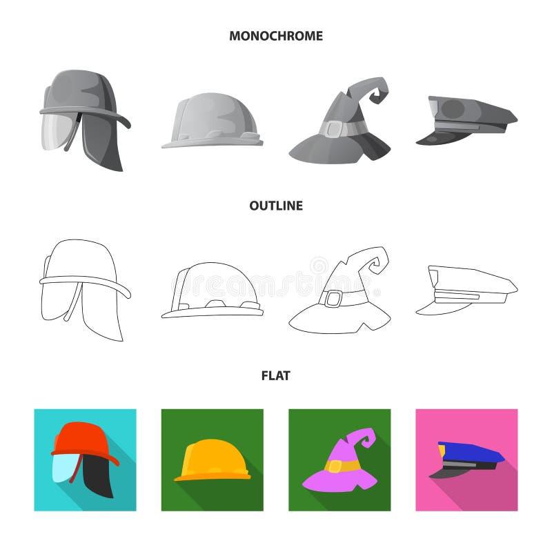 Odosobniony przedmiot kłobuku i nakrętki ikona Set kłobuku i akcesorium akcyjna wektorowa ilustracja ilustracja wektor
