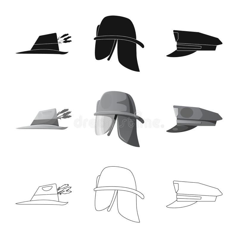 Odosobniony przedmiot kłobuku i nakrętki logo Kolekcja kłobuku i akcesorium akcyjna wektorowa ilustracja ilustracja wektor