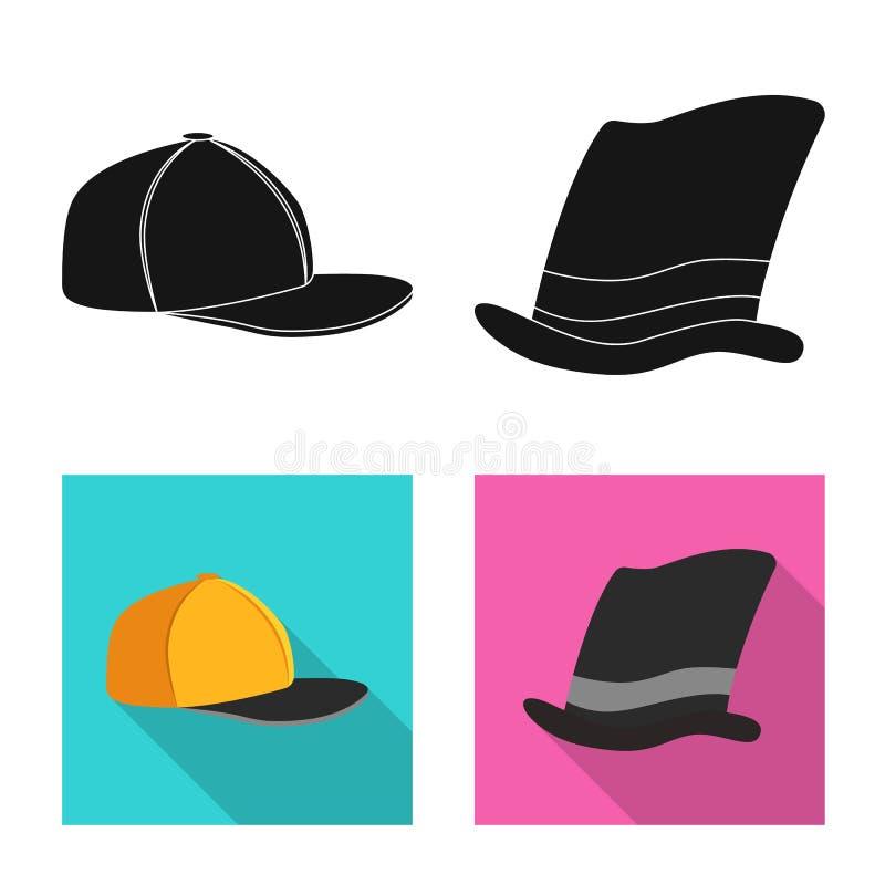 Odosobniony przedmiot kłobuku i nakrętki logo Set kłobuku i akcesorium akcyjna wektorowa ilustracja ilustracji