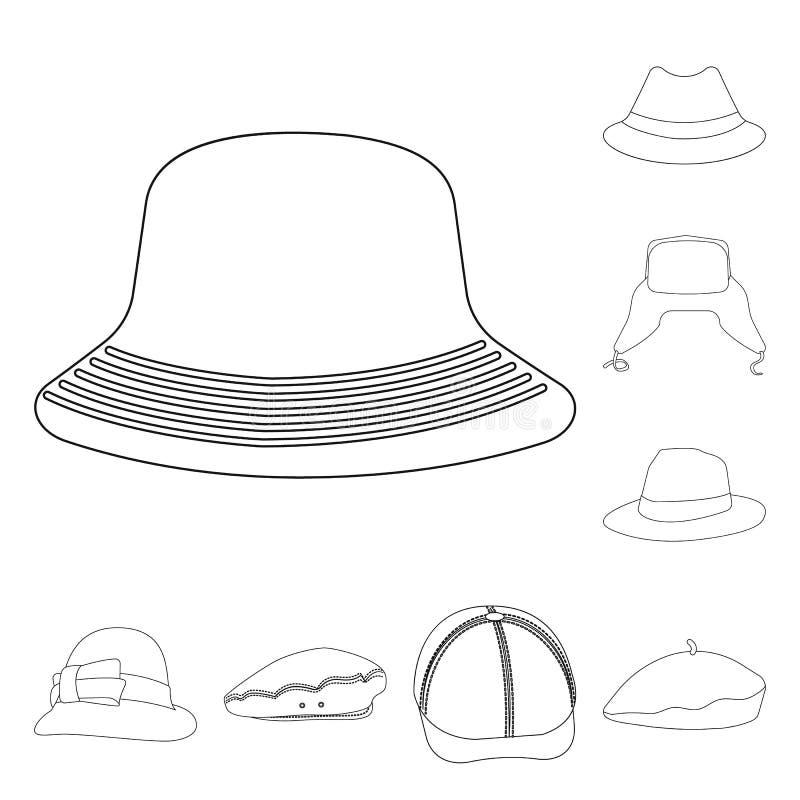 Odosobniony przedmiot kłobuku i nakrętki logo Set kłobuku i akcesorium akcyjna wektorowa ilustracja royalty ilustracja