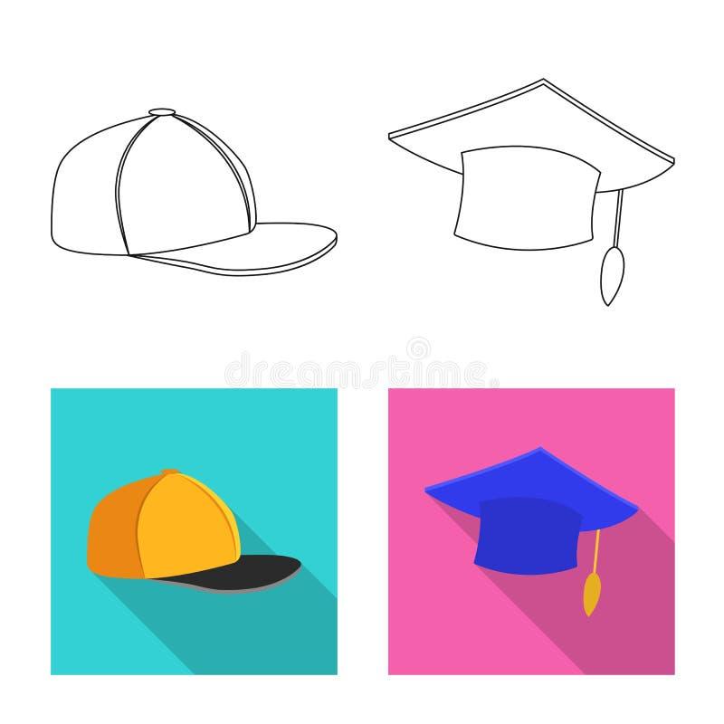 Odosobniony przedmiot kłobuku i nakrętki symbol Set kłobuku i akcesorium akcyjna wektorowa ilustracja ilustracja wektor