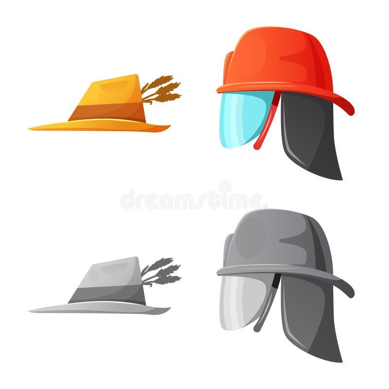 Odosobniony przedmiot kłobuku i nakrętki symbol Set kłobuku i akcesorium akcyjna wektorowa ilustracja ilustracji