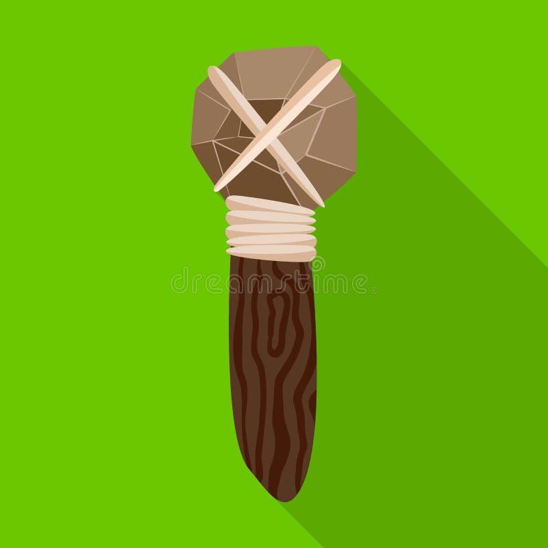 Odosobniony przedmiot młoteczkowy i prehistoryczny symbol Set młota i narzędzia wektorowa ikona dla zapasu royalty ilustracja