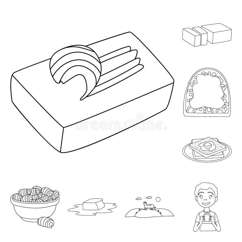 Odosobniony przedmiot margaryny i cholesterolu ikona Kolekcja margaryny i składnika akcyjna wektorowa ilustracja ilustracji
