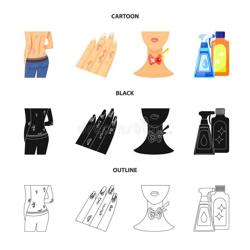Odosobniony przedmiot medyczny i b?lowy logo Kolekcja medyczna i choroba akcyjna wektorowa ilustracja royalty ilustracja