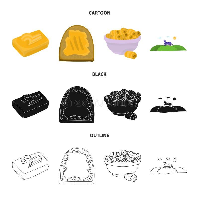 Odosobniony przedmiot ?mietankowa i produkt ikona Kolekcja ?mietankowego i rolnego zapasu wektoru ilustracja royalty ilustracja