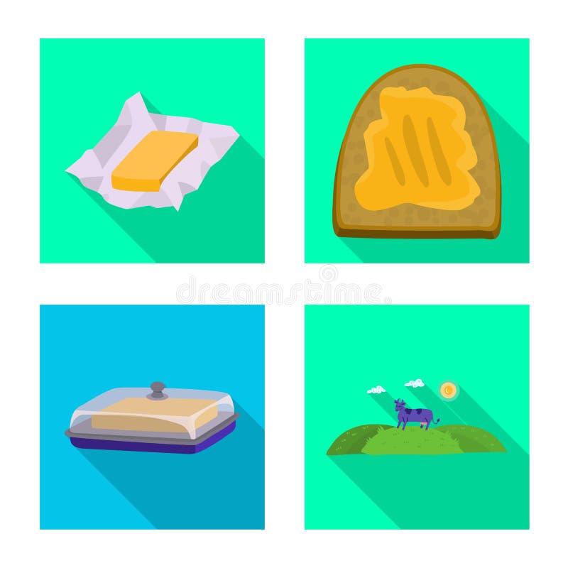 Odosobniony przedmiot ?mietankowa i produkt ikona Kolekcja ?mietankowa i rolna wektorowa ikona dla zapasu ilustracji