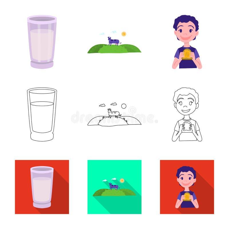 Odosobniony przedmiot ?mietankowy i produkt logo Kolekcja ?mietankowy i rolny akcyjny symbol dla sieci ilustracja wektor