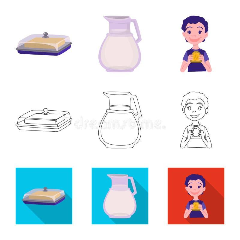 Odosobniony przedmiot ?mietankowy i produkt logo Set ?mietankowy i rolny akcyjny symbol dla sieci royalty ilustracja