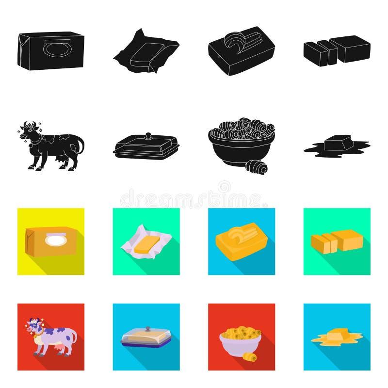 Odosobniony przedmiot ?mietankowy i produkt symbol Set ?mietankowego i rolnego zapasu wektoru ilustracja ilustracji