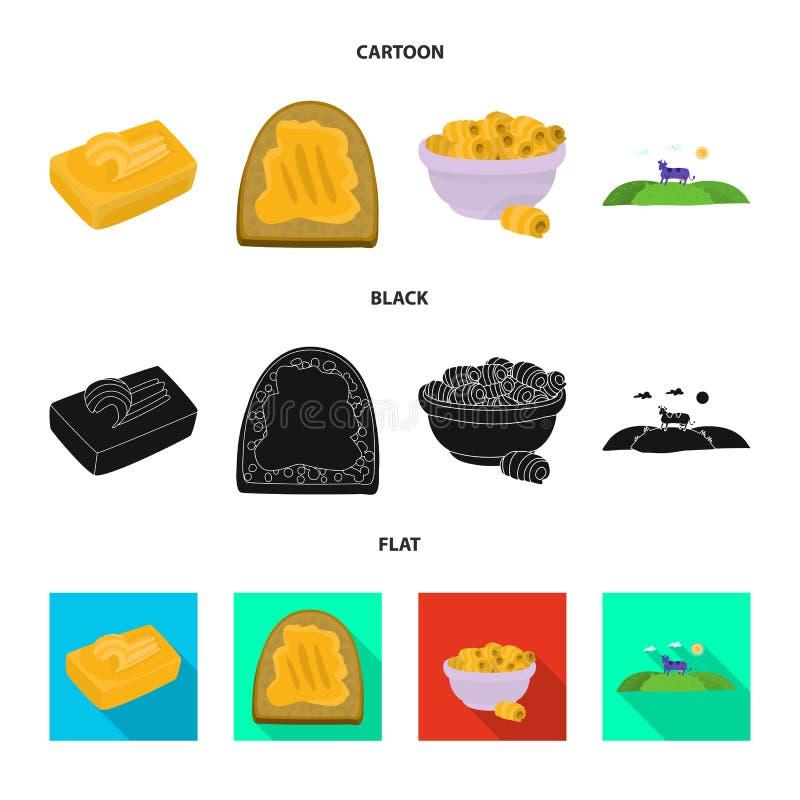 Odosobniony przedmiot ?mietankowy i produkt znak Kolekcja ?mietankowego i rolnego zapasu wektoru ilustracja ilustracji