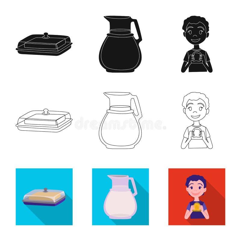 Odosobniony przedmiot ?mietankowy i produkt znak Set ?mietankowa i rolna wektorowa ikona dla zapasu ilustracji