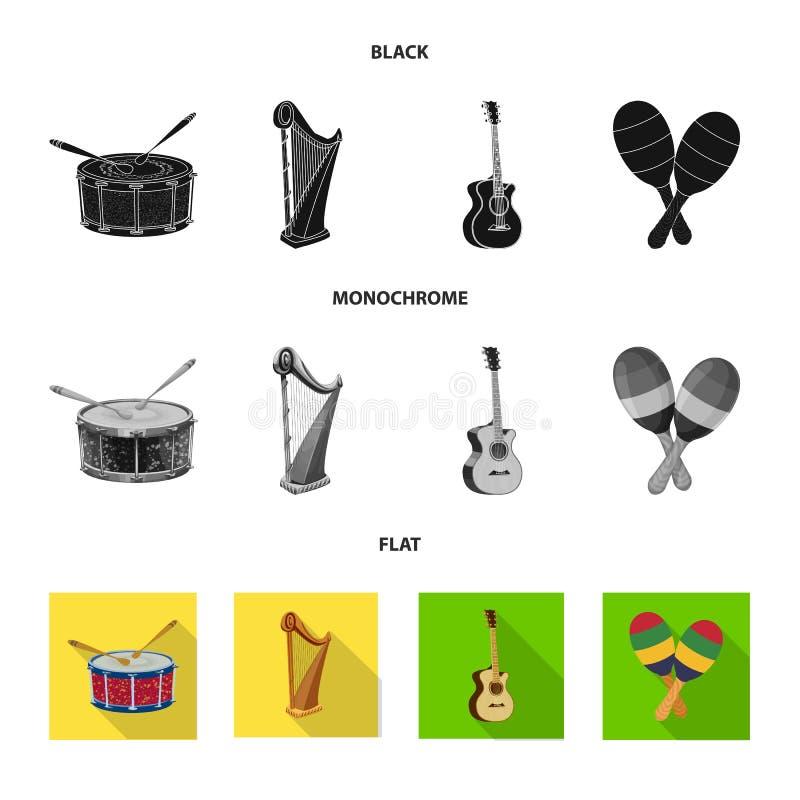 Odosobniony przedmiot muzyki i melodii logo Kolekcja muzyka i narzędziowy akcyjny symbol dla sieci ilustracja wektor