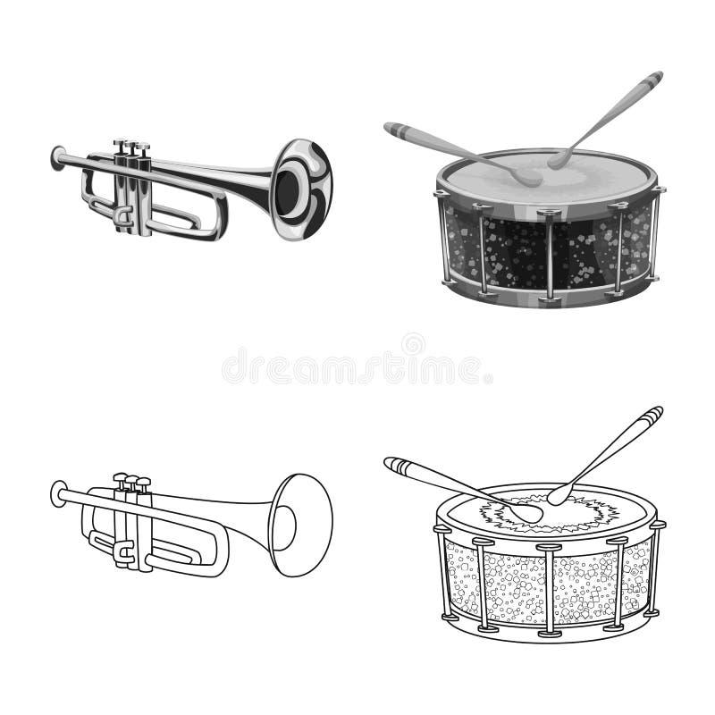 Odosobniony przedmiot muzyki i melodii logo Set muzyka i narzędzie akcyjna wektorowa ilustracja ilustracji