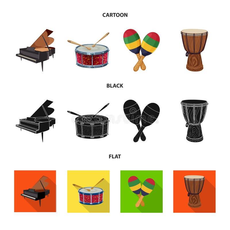 Odosobniony przedmiot muzyki i melodii logo Set muzyka i narzędzie akcyjna wektorowa ilustracja royalty ilustracja