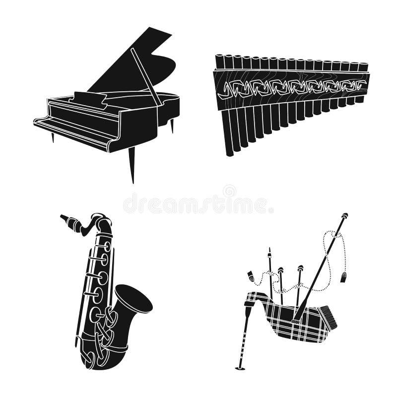 Odosobniony przedmiot muzyki i melodii symbol Set muzyka i narzędzie akcyjna wektorowa ilustracja ilustracja wektor