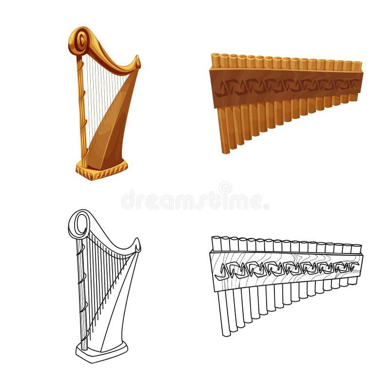 Odosobniony przedmiot muzyki i melodii symbol Set muzyka i narzędzie wektorowa ikona dla zapasu royalty ilustracja