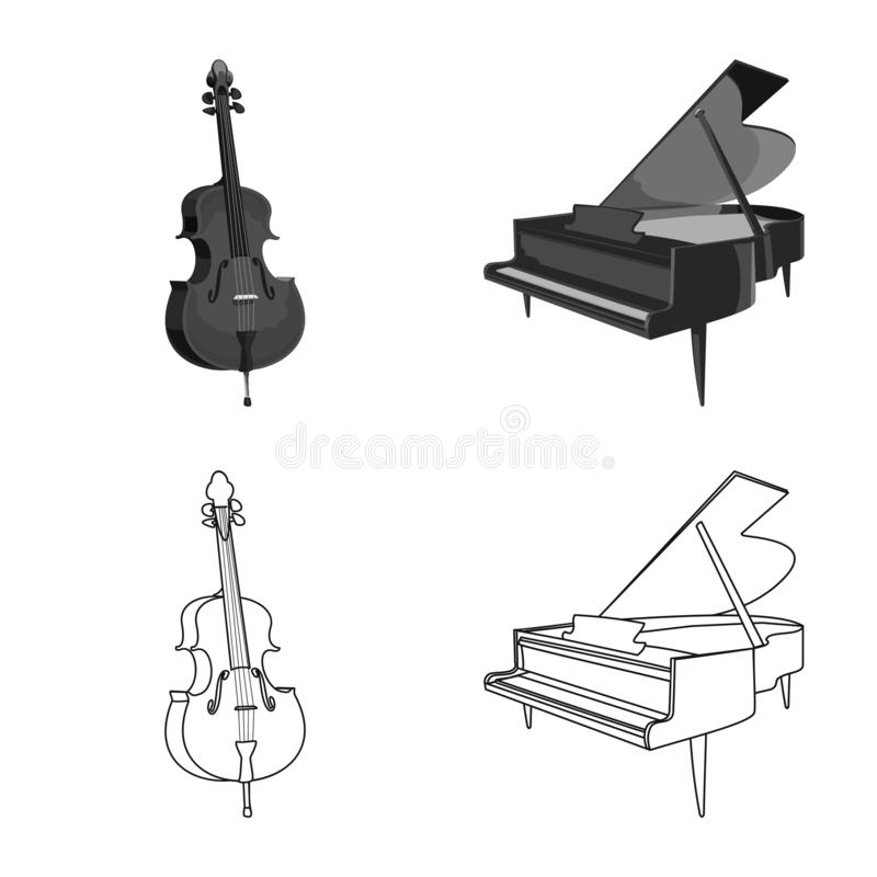 Odosobniony przedmiot muzyki i melodii symbol Set muzyka i narzędziowy akcyjny symbol dla sieci royalty ilustracja