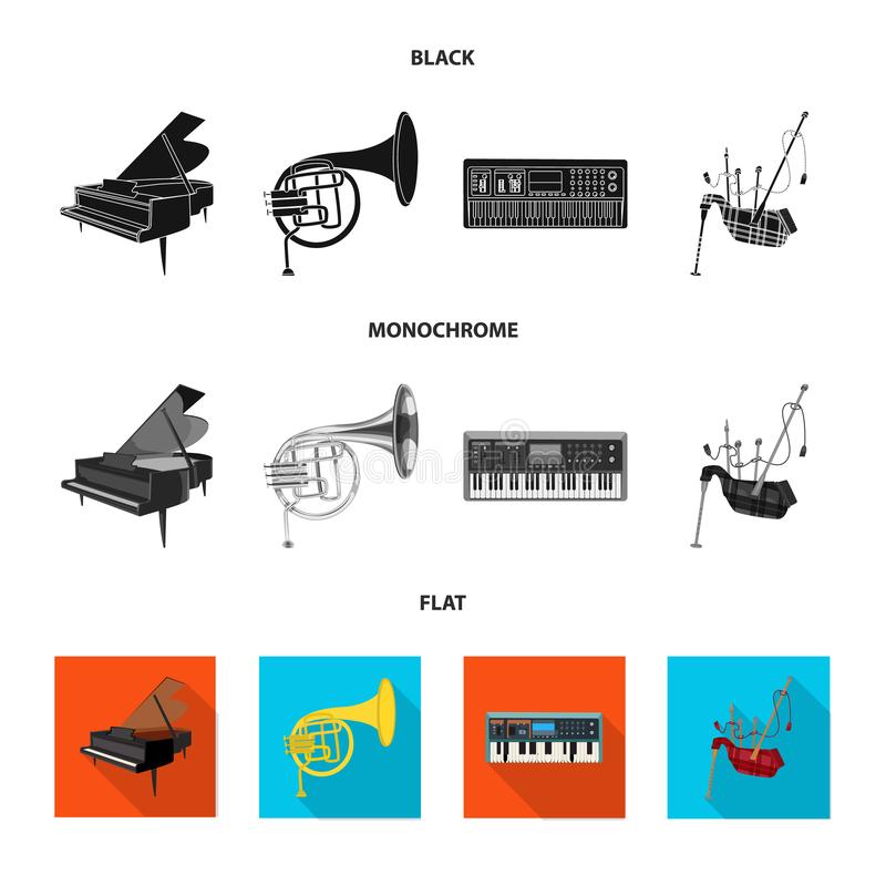 Odosobniony przedmiot muzyki i melodii znak Kolekcja muzyka i narzędzie akcyjna wektorowa ilustracja royalty ilustracja