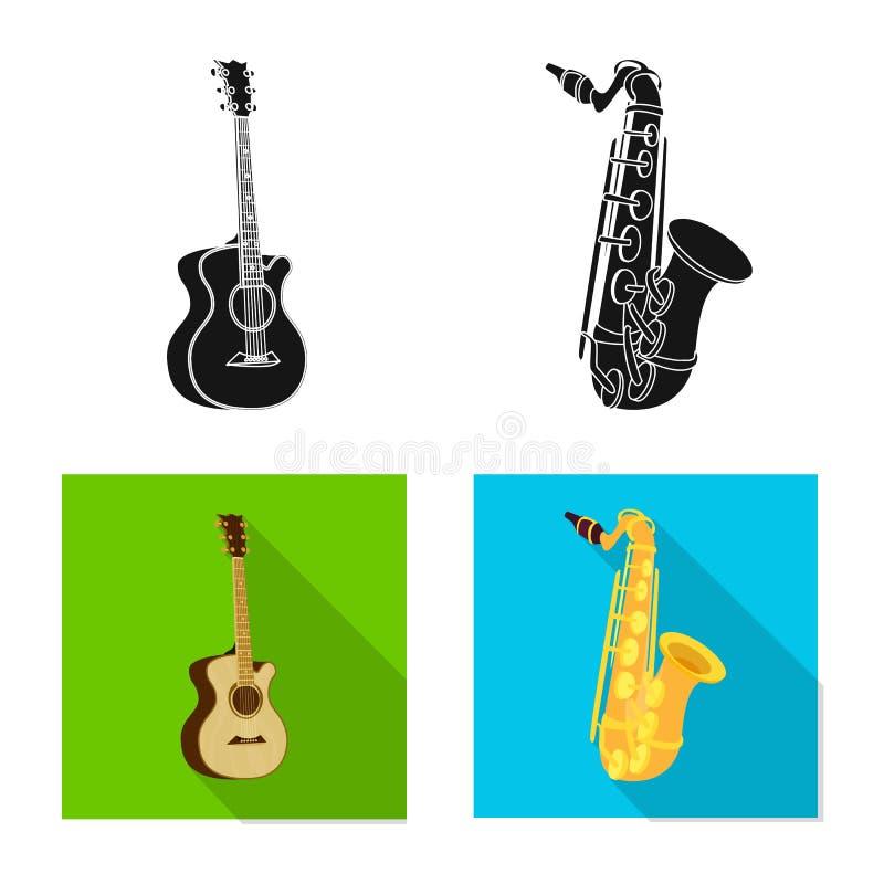 Odosobniony przedmiot muzyki i melodii znak Set muzyka i narzędzie wektorowa ikona dla zapasu ilustracji