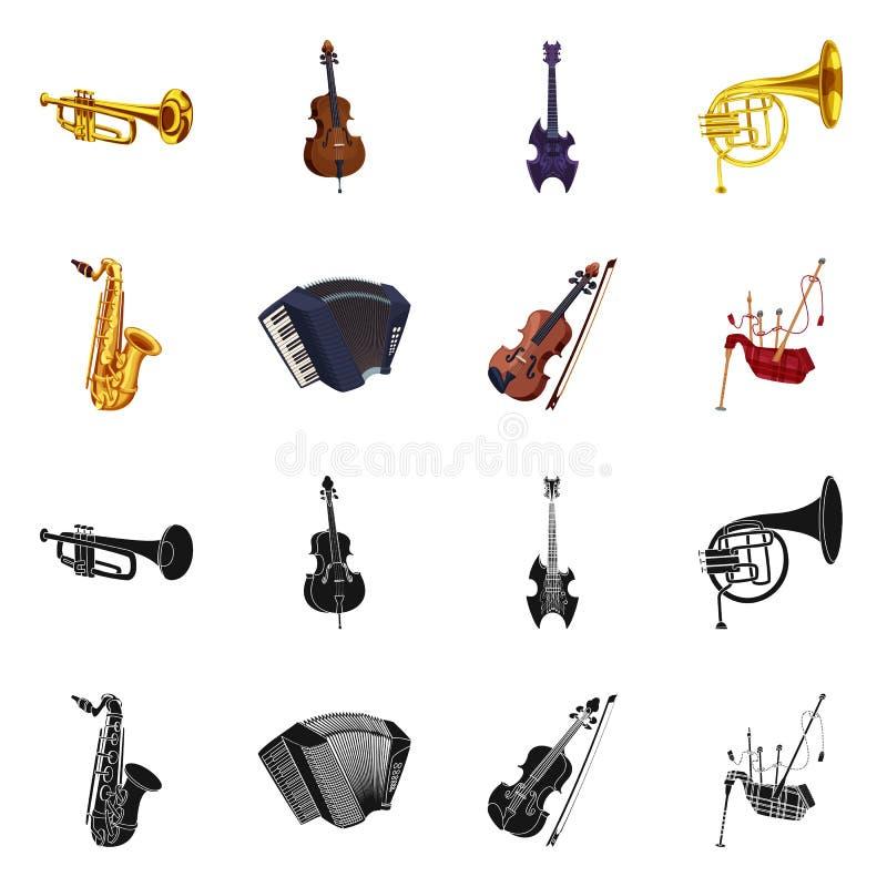 Odosobniony przedmiot muzyki i melodii znak Set muzyka i narzędziowy akcyjny symbol dla sieci royalty ilustracja