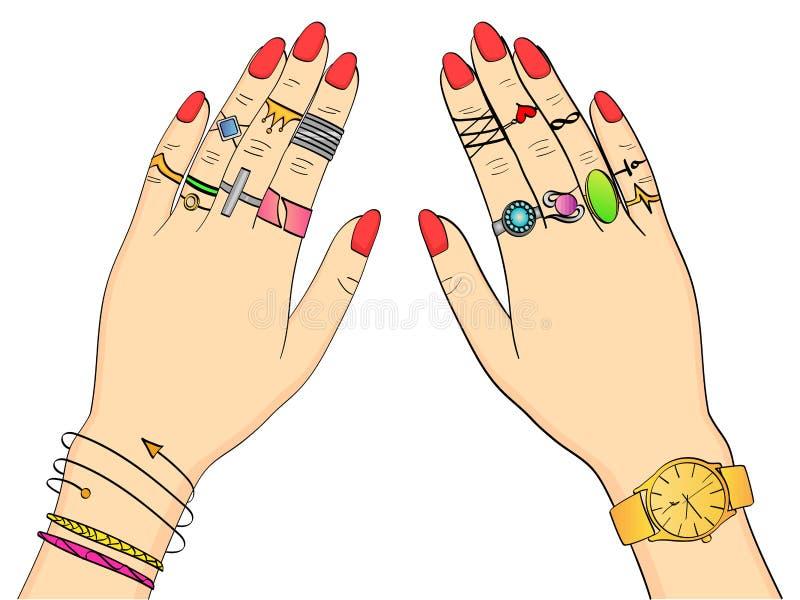 Odosobniony przedmiot na białym tle barwił wektorową ilustrację Ręki kobiety w mody biżuterii, pierścionki, biżuteria ilustracji