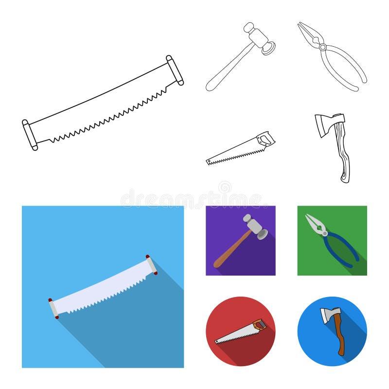 Odosobniony przedmiot narz?dzia i budowy symbol Set narz?dzie dla zapasu i ciesielki wektorowa ikona royalty ilustracja