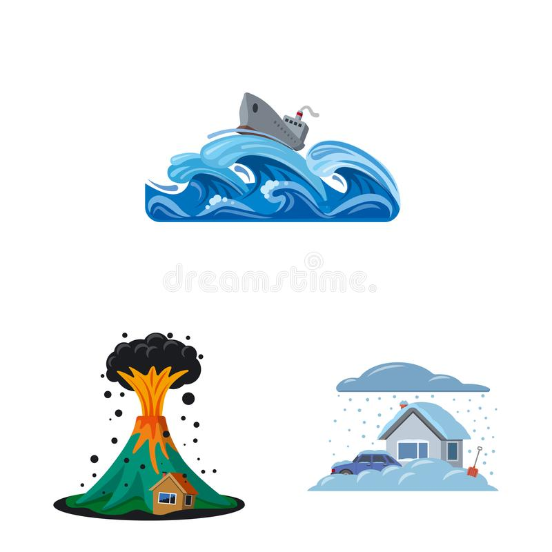 Odosobniony przedmiot naturalny i katastrofa logo Kolekcja naturalna i ryzyko wektorowa ikona dla zapasu ilustracji