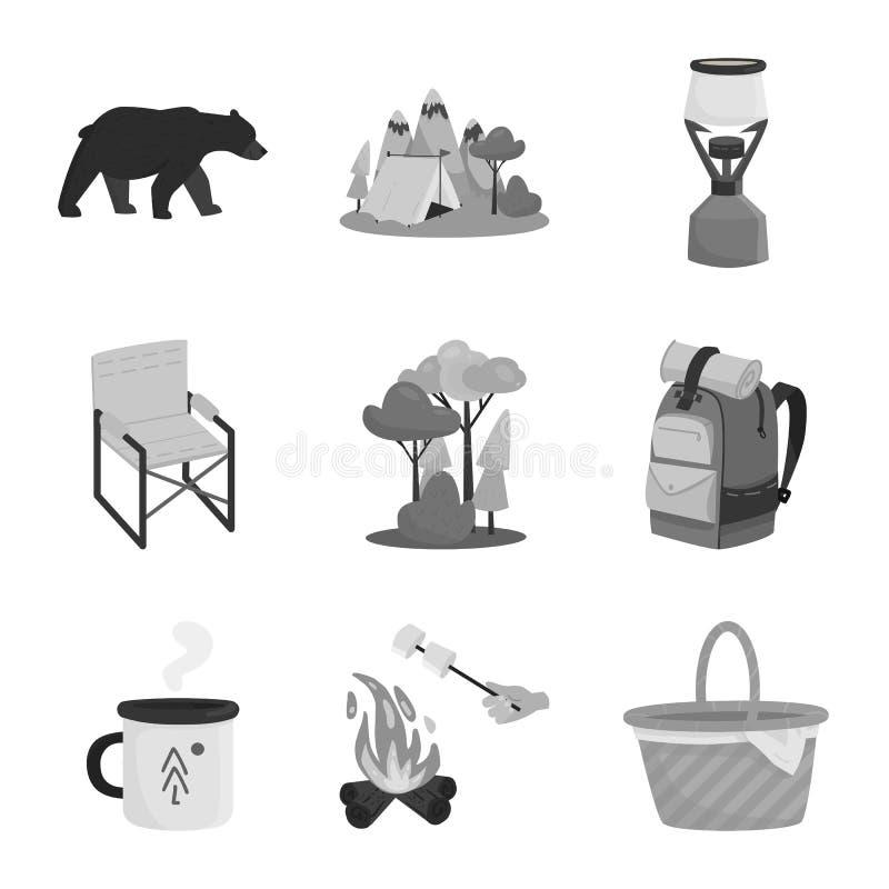 Odosobniony przedmiot odtwarzania i turystyki symbol Set odtwarzania i przyrody akcyjny symbol dla sieci royalty ilustracja