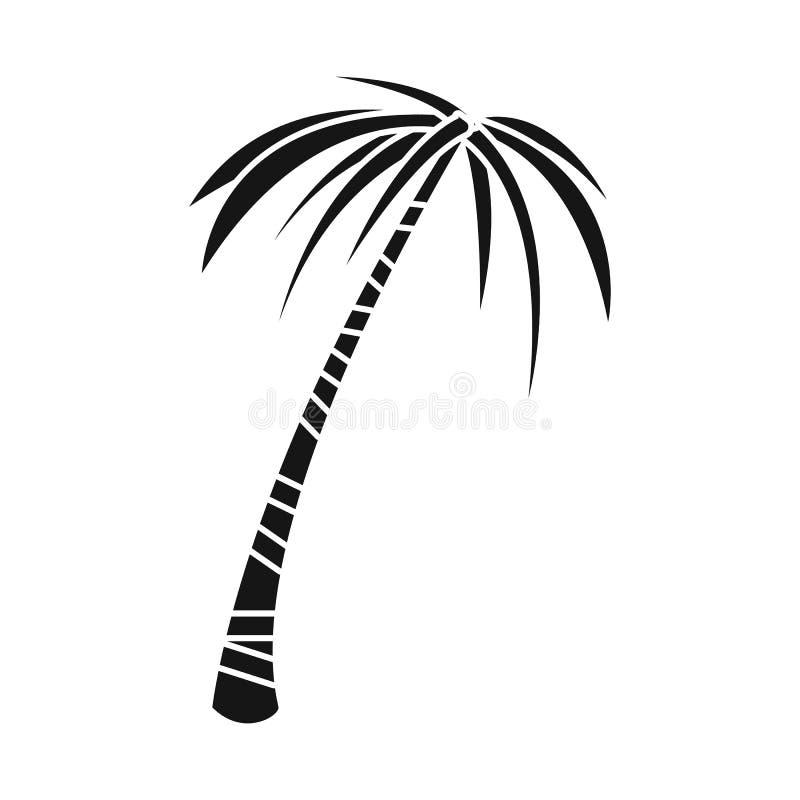 Odosobniony przedmiot palmowy i wysoki znak Set palmy i coco akcyjna wektorowa ilustracja royalty ilustracja