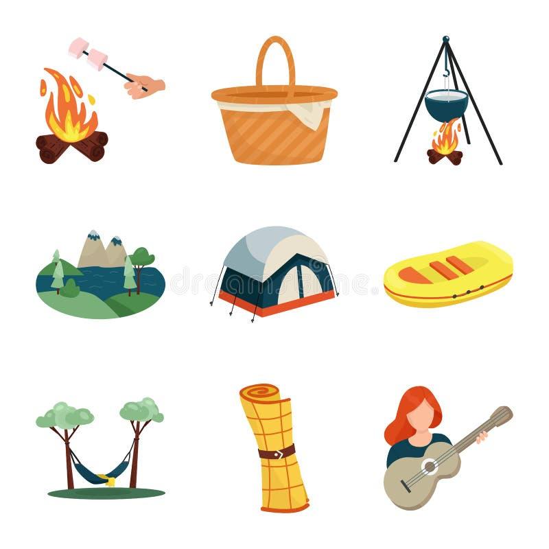Odosobniony przedmiot pinkinu i natury ikona Set pinkinu i podróży wektorowa ikona dla zapasu royalty ilustracja