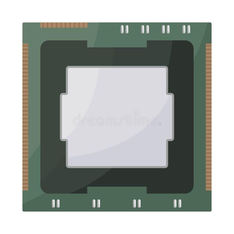 Odosobniony przedmiot procesoru i układu scalonego ikona Set procesor i dane zapasu wektoru ilustracja ilustracji