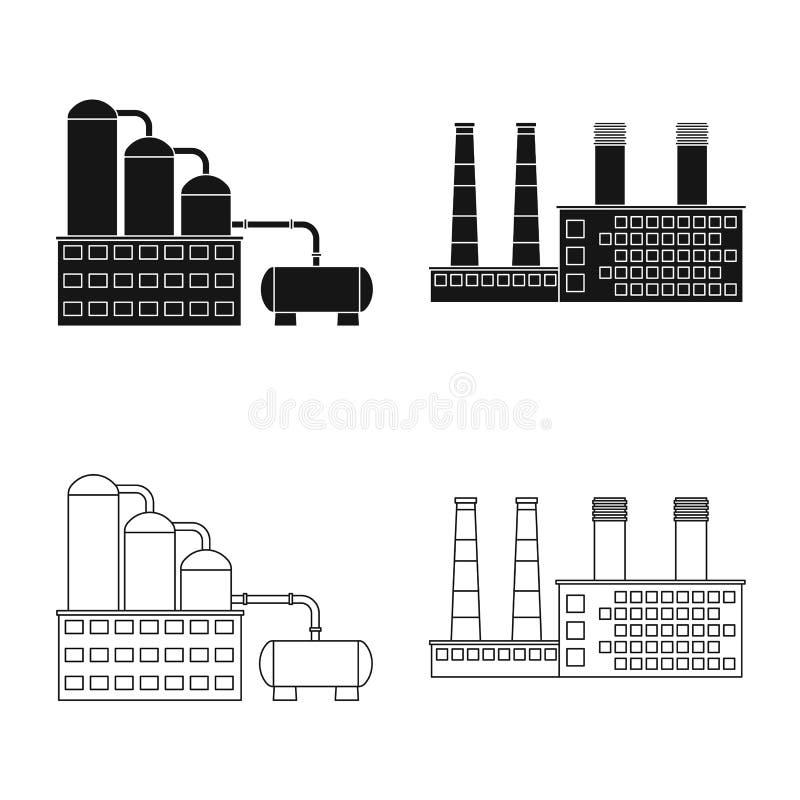 Odosobniony przedmiot produkcji i struktury logo Kolekcja produkcji i technologii wektorowa ikona dla zapasu ilustracja wektor