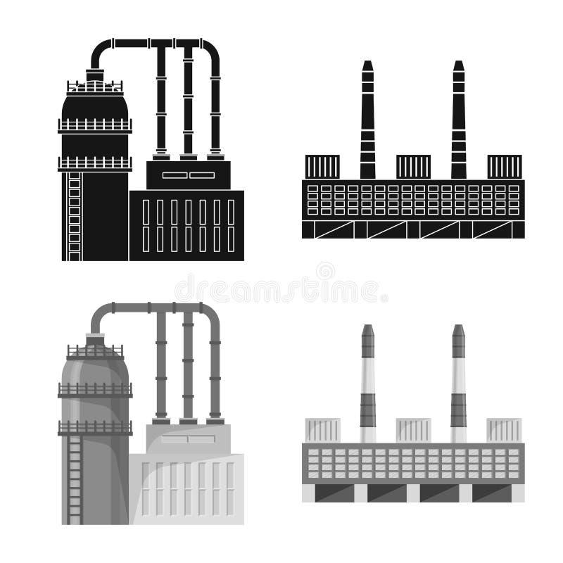 Odosobniony przedmiot produkcji i struktury logo Set produkcji i technologii akcyjny symbol dla sieci ilustracja wektor
