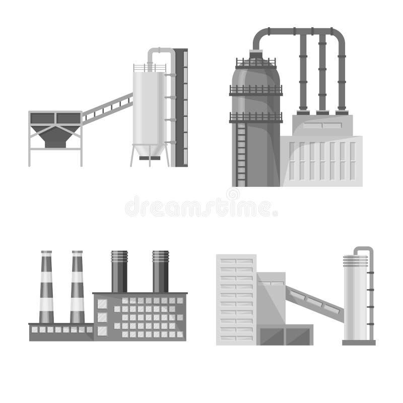 Odosobniony przedmiot produkcji i struktury symbol Kolekcja produkcji i technologii zapasu wektoru ilustracja ilustracja wektor
