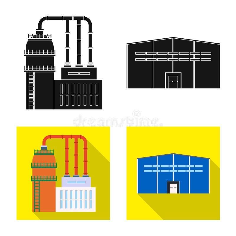 Odosobniony przedmiot produkcji i struktury symbol Set produkcji i technologii zapasu wektoru ilustracja ilustracji