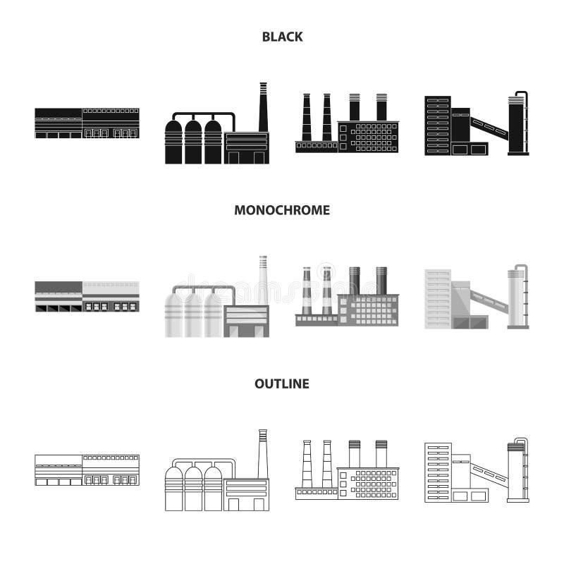 Odosobniony przedmiot produkcji i struktury znak Set produkcji i technologii akcyjny symbol dla sieci ilustracja wektor