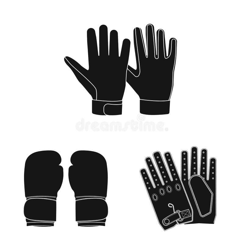 Odosobniony przedmiot rękawiczka i zima logo Kolekcja rękawiczki i wyposażenia akcyjna wektorowa ilustracja royalty ilustracja